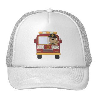 Red Fire Truck Bear Trucker Hat