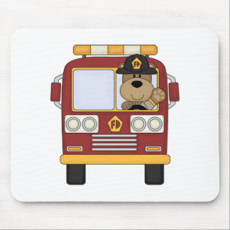 Red Fire Truck Bear Mouse Pad