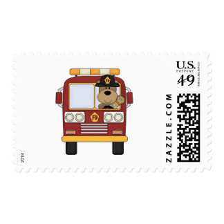 Red Fire Truck Bear Postage Stamps