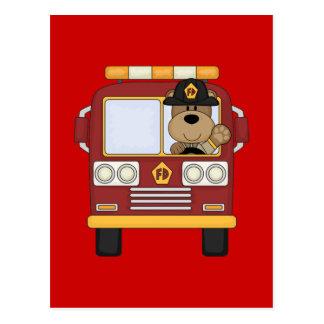 Red Fire Truck Bear Postcard