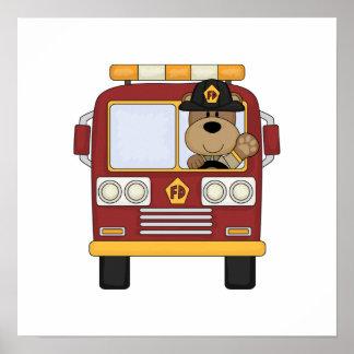 Red Fire Truck Bear Poster