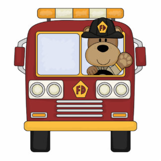 Red Fire Truck Bear Statuette