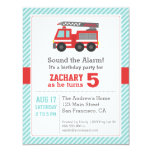 Red Fire Truck Birthday Party Invitation Announcement
