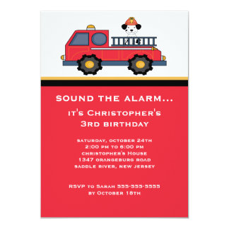 "Red Fire Truck Birthday Party 5"" X 7"" Invitation Card"