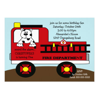 Red Fire Truck Birthday Party Announcement
