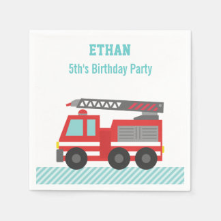 Red Fire Truck Birthday Party Paper Napkin