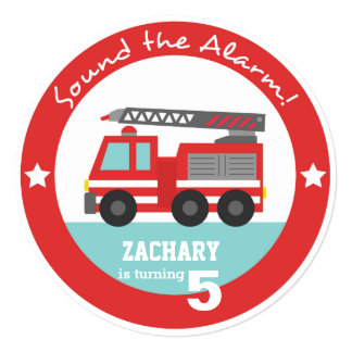 Red Fire Truck Boy Birthday Party, Circle Card