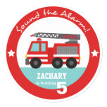 Red Fire Truck Boy Birthday Party, Circle Announcement