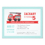 Red Fire Truck Boy Birthday Party Invitation Announcement