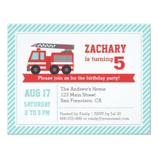 Red Fire Truck Boy Birthday Party Invitation