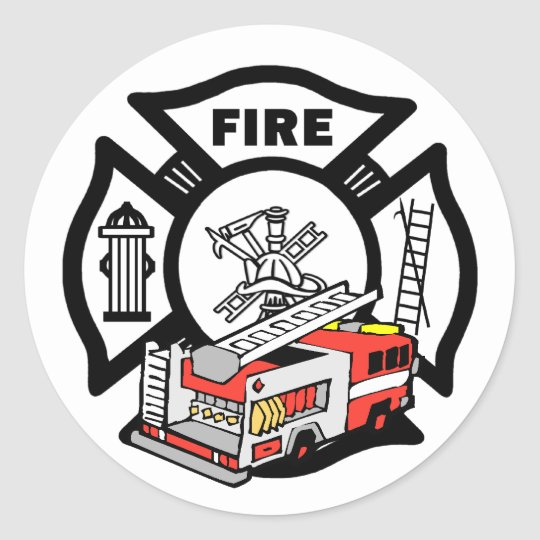Red Fire Truck Classic Round Sticker