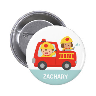 Red Fire Truck Fire fighter Boy and Puppy Button