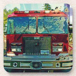 Red Fire Truck Fireman's Art Gift Drink Coasters