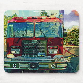 Red Fire Truck Fireman's Art Gift Mouse Pad