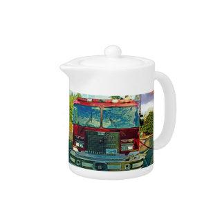Red Fire Truck Fireman's Art Gift Teapot