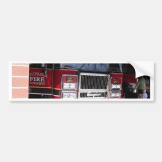 Red Fire Truck in Garage Bumper Sticker