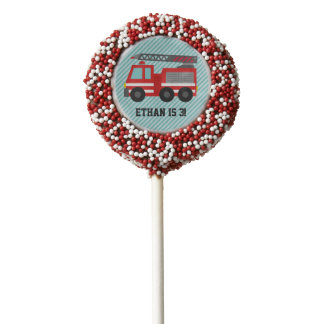 Red Fire Truck Kids Birthday Party Treats Chocolate Covered Oreo Pop