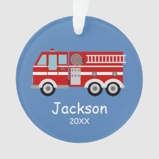 Red Fire Truck Kids Personalized Christmas Ornament