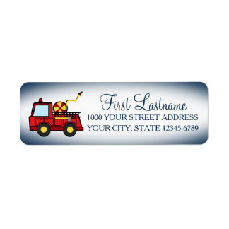 Red Fire Truck Label