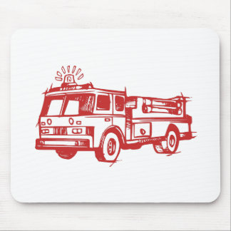 Red Fire Truck Mouse Pad
