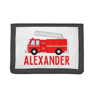 Red Fire Truck Name Trifold Wallet