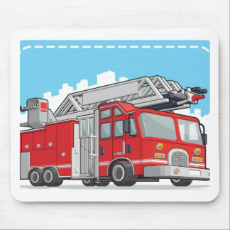 Red Fire Truck or Fire Engine Mouse Pad