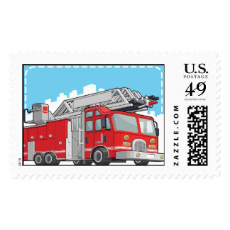 Red Fire Truck or Fire Engine Postage