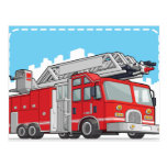 Red Fire Truck or Fire Engine Postcard