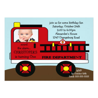 Red Fire Truck Photo Birthday Party Custom Invites