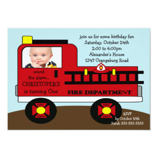 "Red Fire Truck Photo Birthday Party 5"" X 7"" Invitation Card"