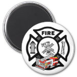 Red Fire Truck Refrigerator Magnets
