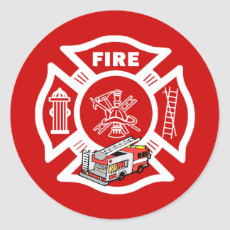 Red Fire Truck Rescue Classic Round Sticker