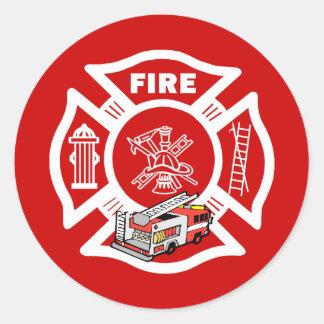 Red Fire Truck Rescue Classic Round Sticker