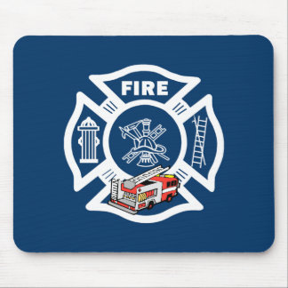 Red Fire Truck Rescue Mouse Pad