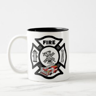 Red Fire Truck Rescue Coffee Mugs