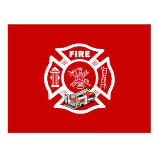 Red Fire Truck Rescue Postcard