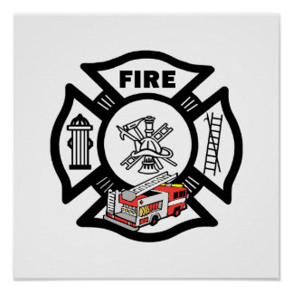 Red Fire Truck Rescue Poster