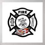 Red Fire Truck Rescue Print