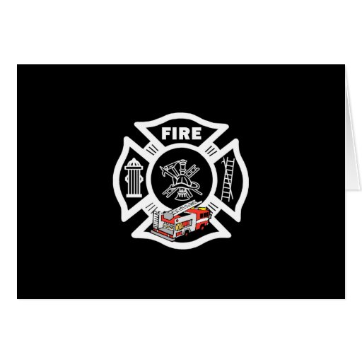 Red Fire Truck Rescue Stationery Note Card