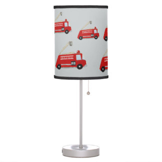 Red fire truck table lamp