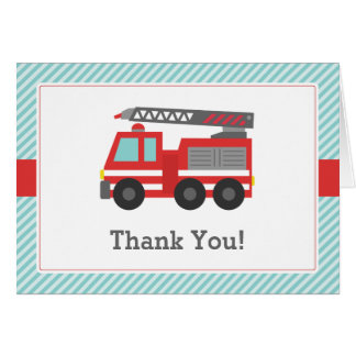 Red Fire Truck Thank You Note Card