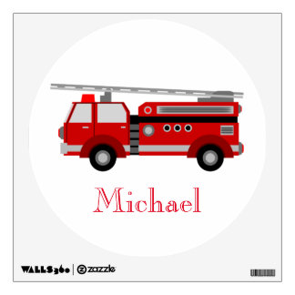 Red fire truck vintage style wall sticker