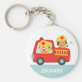 Red Fire Truck with Fire fighter Boy and Puppy Basic Round Button Keychain