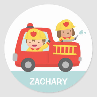 Red Fire Truck with Fire fighter Boy and Puppy Classic Round Sticker