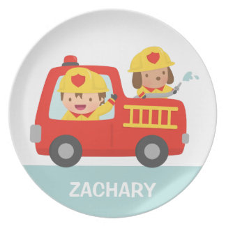 Red Fire Truck with Fire fighter Boy and Puppy Melamine Plate