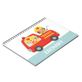 Red Fire Truck with Fire fighter Boy and Puppy Notebook