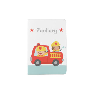 Red Fire Truck with Fire fighter Boy and Puppy Passport Holder