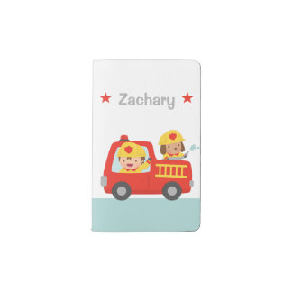 Red Fire Truck with Fire fighter Boy and Puppy Pocket Moleskine Notebook