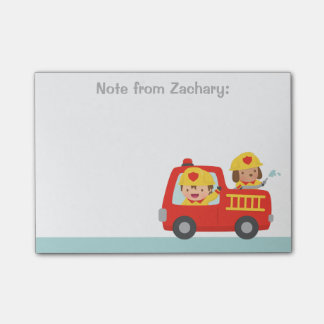 Red Fire Truck with Fire fighter Boy and Puppy Post-it® Notes