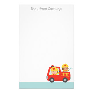 Red Fire Truck with Fire fighter Boy and Puppy Stationery